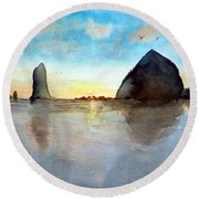 Cannon Beach Sunset Round Beach Towel