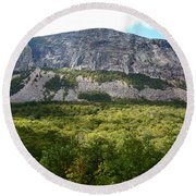 Round Beach Towel featuring the photograph Cannon Cliff From Boise Rock New Hampshire by Nancy Griswold