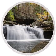 Canyon Waterfall Round Beach Towel
