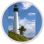 Cape Florida Lighthouse Round Beach Towel