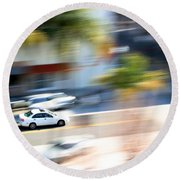 Car In Motion Round Beach Towel