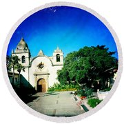 Round Beach Towel featuring the photograph Carmel Mission by Nina Prommer