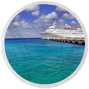 Carnival Elation Docked At Cozumel Round Beach Towel