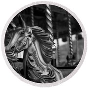 Round Beach Towel featuring the photograph Carousel Horses Mono by Steve Purnell