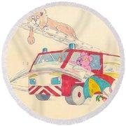 Cartoon Fire Engine And Animals Round Beach Towel