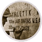 Carving The Name Of Jesse Owens Into The Champions Plinth At The 1936 Summer Olympics In Berlin Round Beach Towel