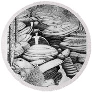 Cascade In Boulders Round Beach Towel