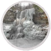 Cascades In Winter 1 Round Beach Towel by Dan Stone