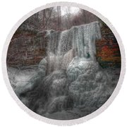 Cascades In Winter 3 Round Beach Towel by Dan Stone