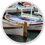 Cassis Harbor Round Beach Towel by Carla Parris