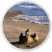 Castle By The Sea Round Beach Towel by Linda Mesibov