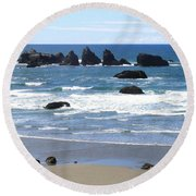 Round Beach Towel featuring the photograph Cat And Kittens Rocks by Will Borden