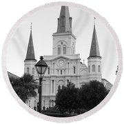 Cathedral And Lampost On Jackson Square In The French Quarter New Orleans Black And White Round Beach Towel by Shawn O'Brien