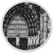 Round Beach Towel featuring the photograph Cathedral In The Snow Panorama by Andy Prendy