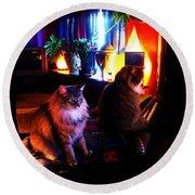 Round Beach Towel featuring the photograph Cats On A Drum by Susanne Still