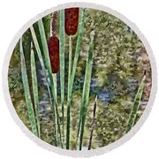 Round Beach Towel featuring the photograph Cattails Along The Pond by Don Schwartz