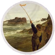 Caught By The Tide Round Beach Towel