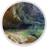 Round Beach Towel featuring the photograph Cave Entrance by Myrna Bradshaw