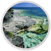 Cave Point Vista Round Beach Towel