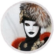 Cecile's Portrait Round Beach Towel