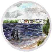 Round Beach Towel featuring the painting Cedar Beach by Clara Sue Beym