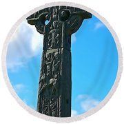 Round Beach Towel featuring the photograph Celtic Cross by Charlie and Norma Brock