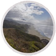 Round Beach Towel featuring the photograph Central Oregon Coast Vista by Mick Anderson