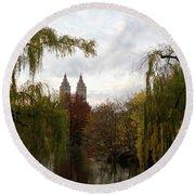Round Beach Towel featuring the photograph Central Park Autumn by Lorraine Devon Wilke