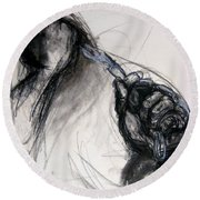 Round Beach Towel featuring the drawing Chain by Gabrielle Wilson-Sealy
