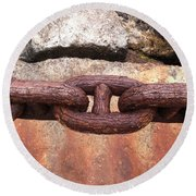 Chain Under The Golden Gate Bridge Round Beach Towel by Bill Owen