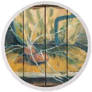 Round Beach Towel featuring the painting Chair With Potatoes by Avonelle Kelsey