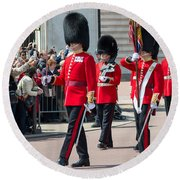 Changing Of The Guard At Buckingham Palace Round Beach Towel