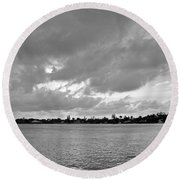 Round Beach Towel featuring the photograph Channel View by Sarah McKoy