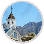 Round Beach Towel featuring the photograph Chapel In Superstitions by Penny Meyers