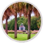 Charleston Pineapple Fountain Round Beach Towel