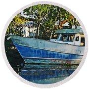Chauvin La Blue Bayou Boat Round Beach Towel