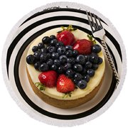 Cheese Cake On Black And White Plate Round Beach Towel