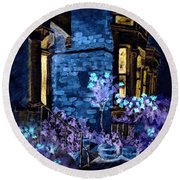 Chelsea Row At Night Round Beach Towel