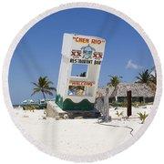 Round Beach Towel featuring the photograph Chen Rio Beach Bar Cozumel Mexico by Shawn O'Brien
