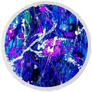 Round Beach Towel featuring the painting Cherry Blossom Explosion by Michelle Dallocchio