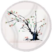 Cherry Tree By Straw Round Beach Towel