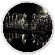 Chess By Candlelight Round Beach Towel