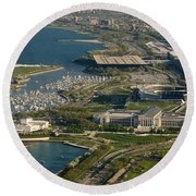 Chicagos Lakefront Museum Campus Round Beach Towel by Steve Gadomski