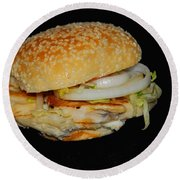 Chicken Sandwich Round Beach Towel