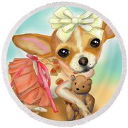 Chihuahua Princess Round Beach Towel