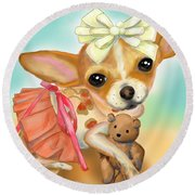 Chihuahua Princess Round Beach Towel by Catia Cho