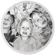Children Playing In The Fallen Leaves Round Beach Towel