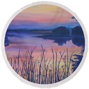 Round Beach Towel featuring the painting Chincoteaque Island Sunset by Julie Brugh Riffey