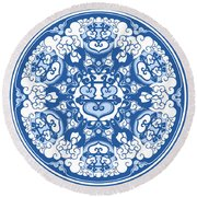 Chinese Traditional Blue And White Porcelain Style Pattern Round Beach Towel by BJI Blue Jean Images