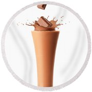 Chocolate Milkshake Smoothie Round Beach Towel